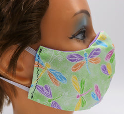 Green Dragonfly Washable Cloth Face Mask, Reusable Cotton Facial Cover Travel
