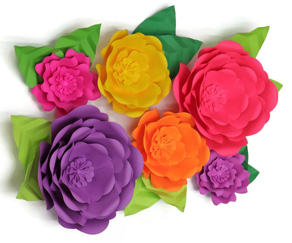 Neon Giant Paper Flowers Backdrop, Big Floral Wall Art, Spring Birthday Party Background