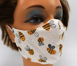 Kawaii Honey Bee Washable Cloth Face Mask, Reusable Cotton Facial Cover Travel