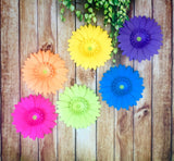 Neon Rainbow Gerbera Daisy Set of 6 - 8 Inch Giant Paper Flowers