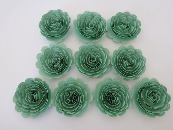 Mint Party Decorations, Seafoam Green Roses, 3 Inch Paper Flowers Set of 10, Gender Neutral Baby Shower Decor, Nursery Wall Art