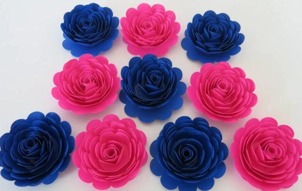 Hot Pink & Royal Blue Paper Flowers, Gender Reveal Baby Shower Decorations, 3 Inch Roses Surprise Birthday Party Table Centerpiece Set of 10