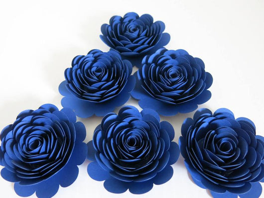 Navy Blue Roses, 3 Inch Paper Flowers, Set of 6 Floral Embellishments