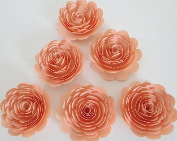 Pretty Peach Roses, Set of 6, 3 Inch Paper Flowers, Girl Baby Shower Table Decor, Wedding Decorations, Event Planning Decorating Ideas