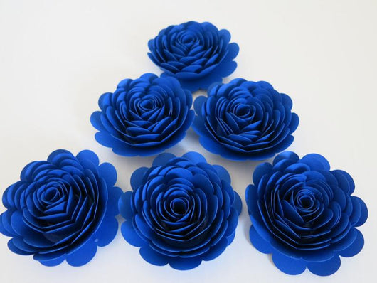 Royal Blue Roses, 3 Inch Blooms, Set of 6, Wedding Paper Flowers