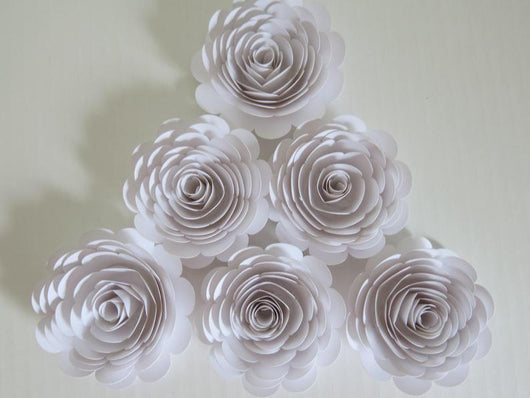 Set of 6 White Paper Roses, 3 Inch Blossoms, Wedding Flowers