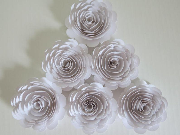Set of 6 White Paper Roses, Big 3