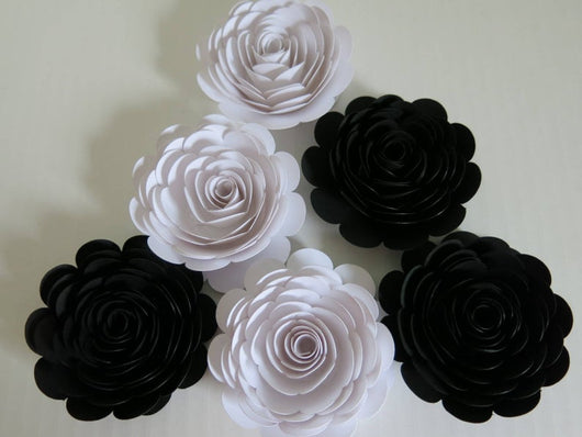Set of 6 Black and White Paper Flowers, 3 Inch Roses
