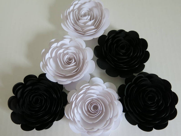 Set of 6 Black and White Paper Flowers, 3 Inch Roses, Classic Wedding Centerpiece, Bridal Shower Decor, Tea Party Theme Birthday Decor