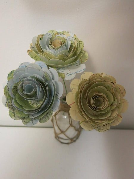 Big World Map Roses on Stems, Set of 3, 3 Inch Paper Flowers, Atlas Wedding Decorations, Bridal Shower Decor, Travel Theme Graduation Party