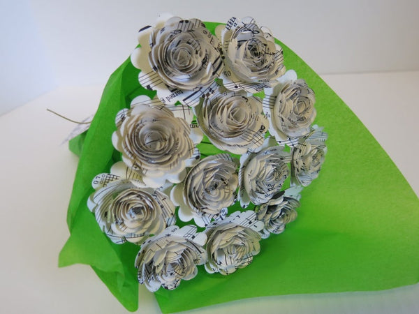 Scalloped Sheet Music Paper Flower Centerpiece, Music Theme