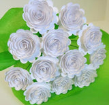 Bouquet of 12 Scalloped Paper Flowers - White Roses
