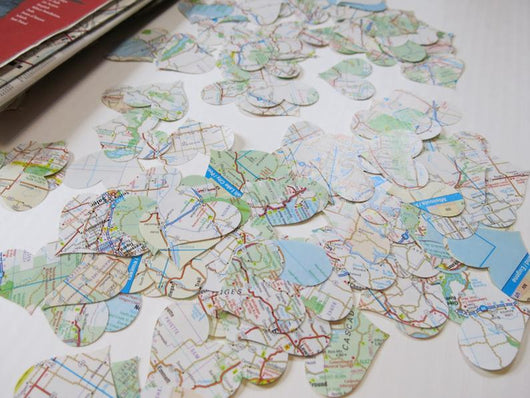 200 Vintage Road Map Heart Confetti - Travel Theme