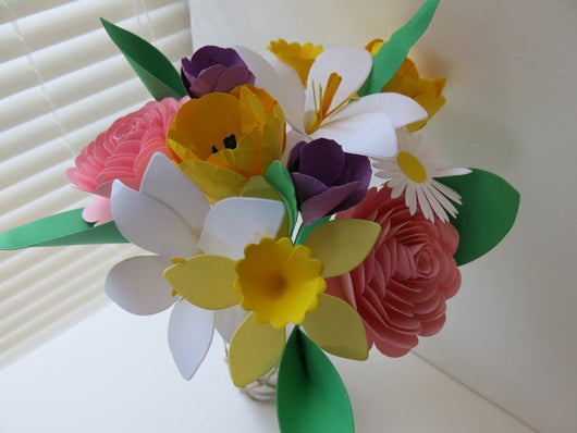 Spring Paper Flower Mix on Stems, Variety Bouquet Floral Arrangement