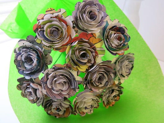 Scalloped Comic Book Paper Flower Bouquet - 1.5 Inch Roses on Stems