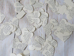 Book Page Heart Confetti - Literary Theme Table Scatter