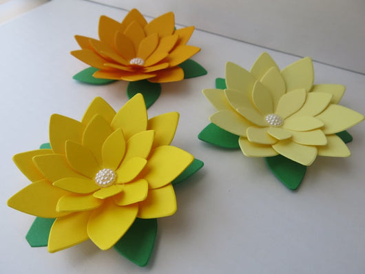 Yellow Ombre Lotus Flowers, 3 Paper Water Lilies - 4 Inch