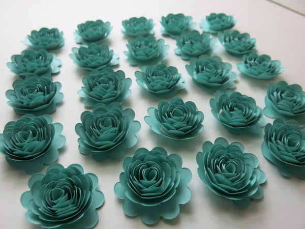 Set of 24 Caribbean Blue Carnations, 1.5 Inch Aquamarine Paper Flowers, 3D Table Runner Scatter, Millinery, Card Making, Robin Egg Blue