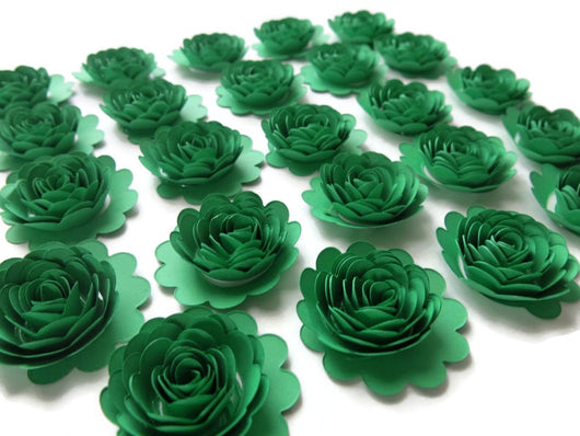 Set of 24 Green Paper Carnations, 1.5 Inch Scalloped Roses