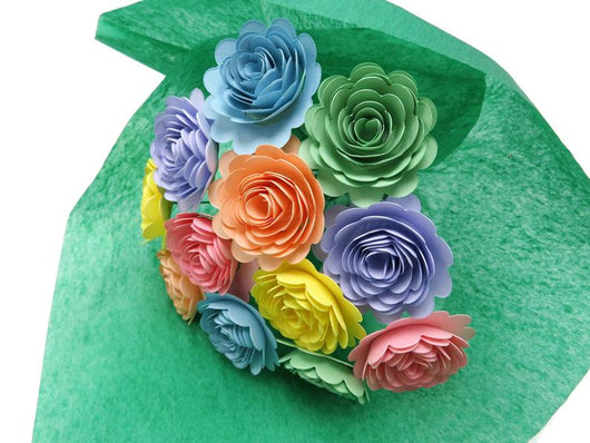 Pastel Paper Flower Bouquet - One Dozen Carnations on Stems