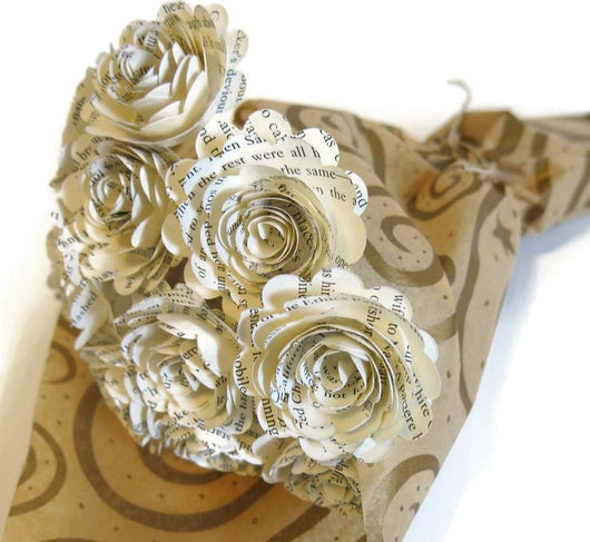 Scalloped Book Page Roses on Stems, One Dozen Paper Flowers Bouquet, 1.5 Inch Blooms, Literary Theme Bridal Shower Decor, Party Decoration