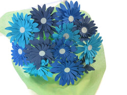Blue Mix Gerbera Daisy Paper Flower Bouquet for Centerpiece