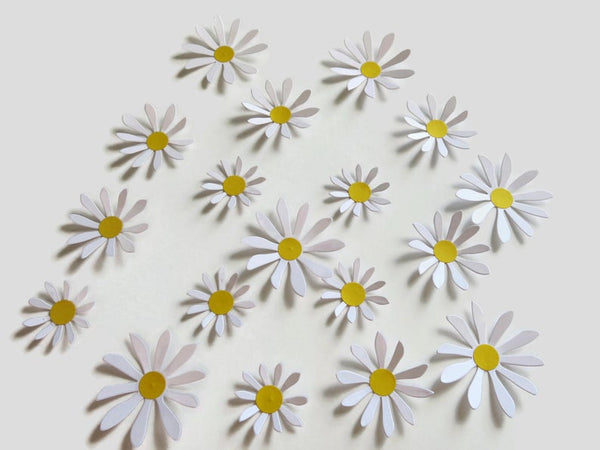 Cute Daisy Stickers, 18 Paper Flower 3D Wall Decals