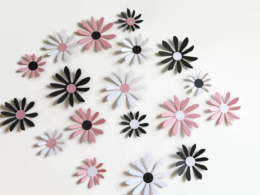 Black, Pink and White Daisies Stickers, 18 Piece Set 3D Wall Decals, 2-3