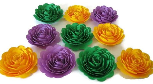 Mardi Gras Party Decorations, Set of 10 Paper Flowers, 3 Inch Roses