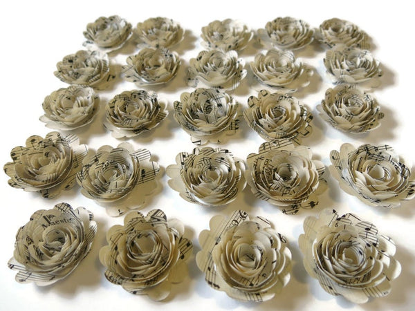 Scalloped Sheet Music Paper Flowers - Vintage Shabby Wedding Roses