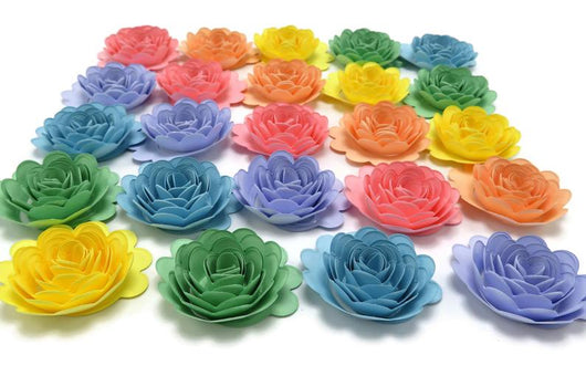 Pastel Rainbow Paper Flowers - 1.5 Inch Carnations - Baby Shower Decor