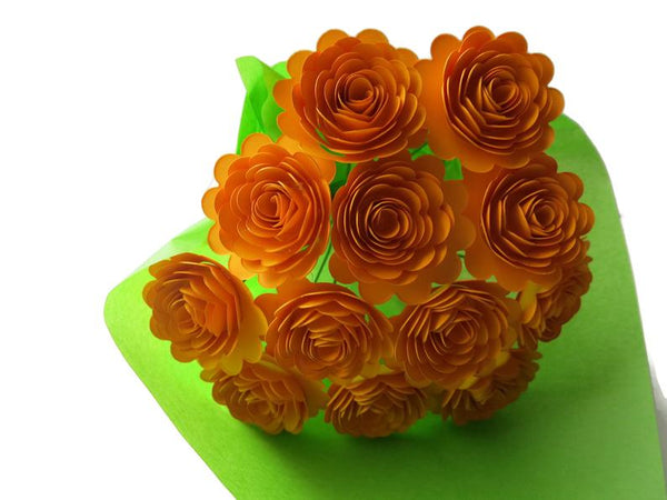 Gold Carnations on Stems, Fall Bouquet of 12 Scalloped Roses, 1.5 Inch Paper Flowers, Autumn Thanksgiving, Floral Arrangement