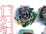 Scalloped Comic Book Page Roses, 1.5 Inch Paper Flowers Wedding Decor