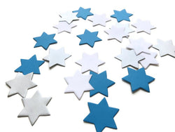 50 White, Silver and Blue Star of David Die Confetti
