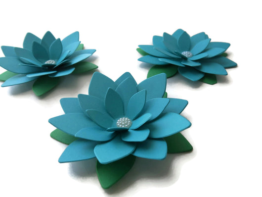 Dark Teal Blue Lotus Flowers, Set of 3 Water Lily Centerpiece