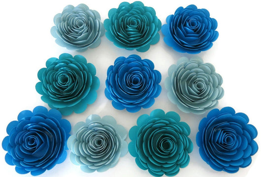 Shades of Blue Paper Flowers - 3 Inch Roses - Set of 10 Ocean Sea Theme Birthday Party Centerpiece Decor - Boy Baby Shower Decorations