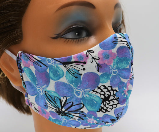 Blue Flower Washable Cloth Face Mask, Reusable Cotton Facial Cover Travel Mask
