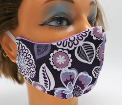 Purple Flower Cotton Face Mask, 2 Layer Facial Covering, Adult Sizes, Washable and Reusable