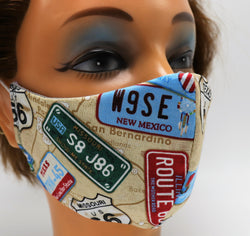 Road Sign Print Washable Cloth Face Mask, Reusable Cotton Facial Cover Travel