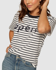 Apéro Beaded Tee | Navy Stripe
