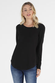 Megan Long Sleeve Top | Black
