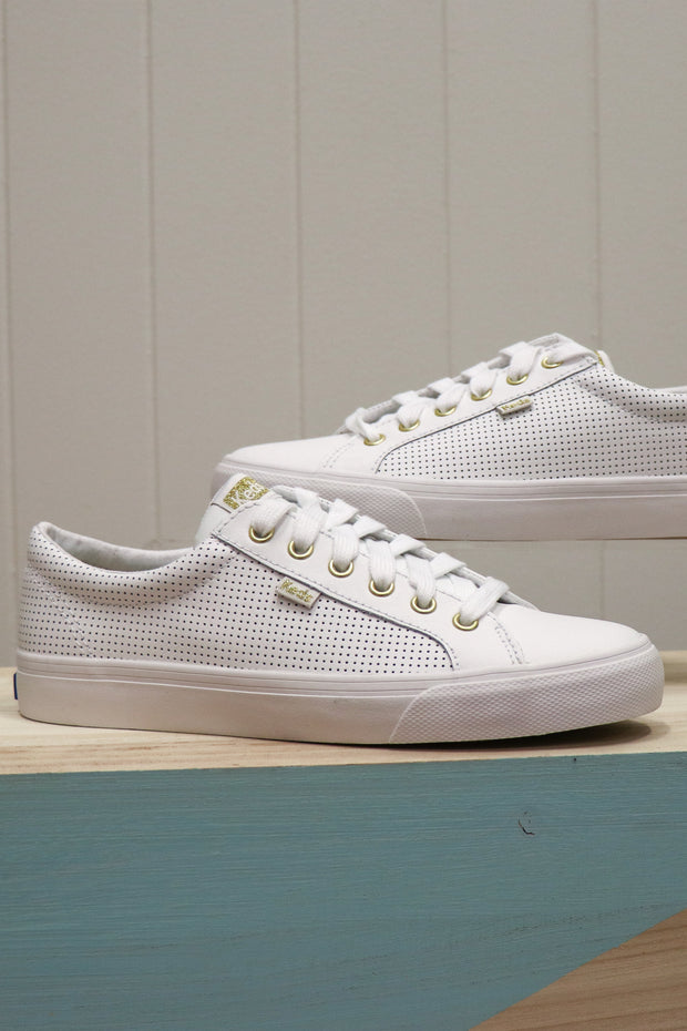 Keds | Jump Kick Leather Sneaker | White & Gold