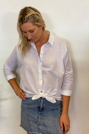 Collared Linen Shirt | White