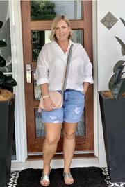 Stretch Denim Bermuda Shorts