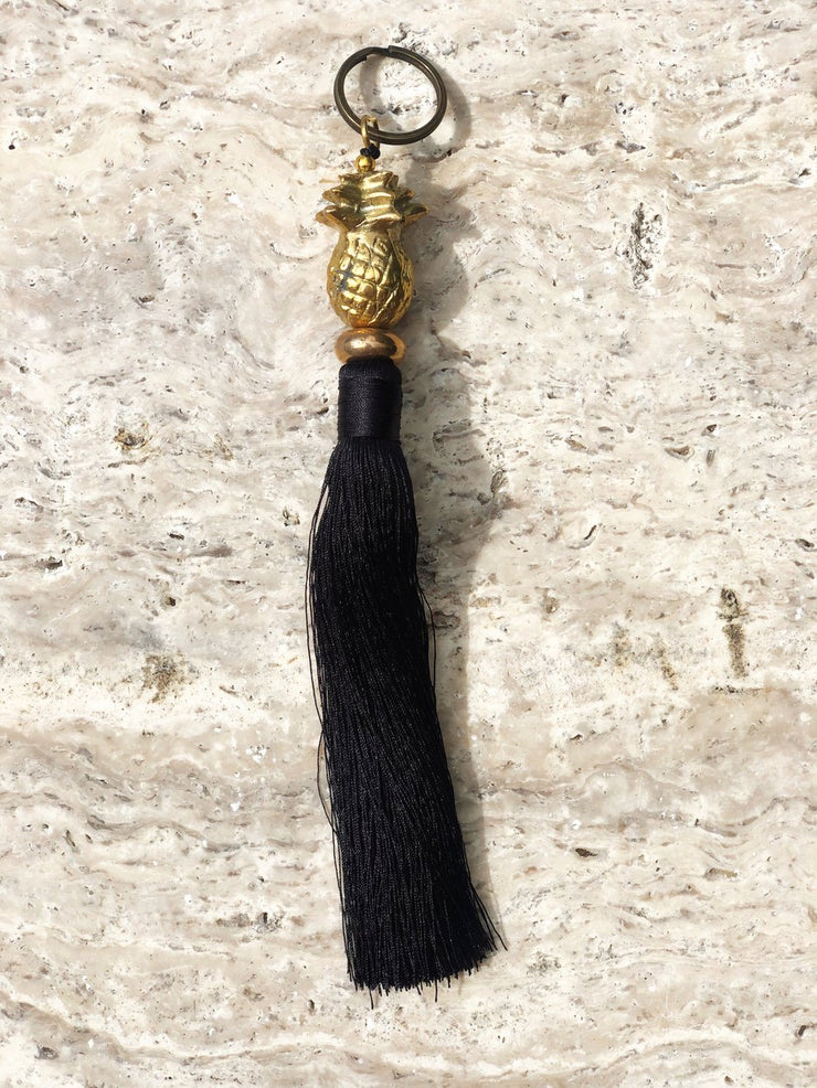 Brass Pineapple Keyring with Tassel | Black