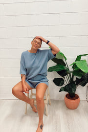The Lullaby Club // Alex Knit Shorts | Denim Blue
