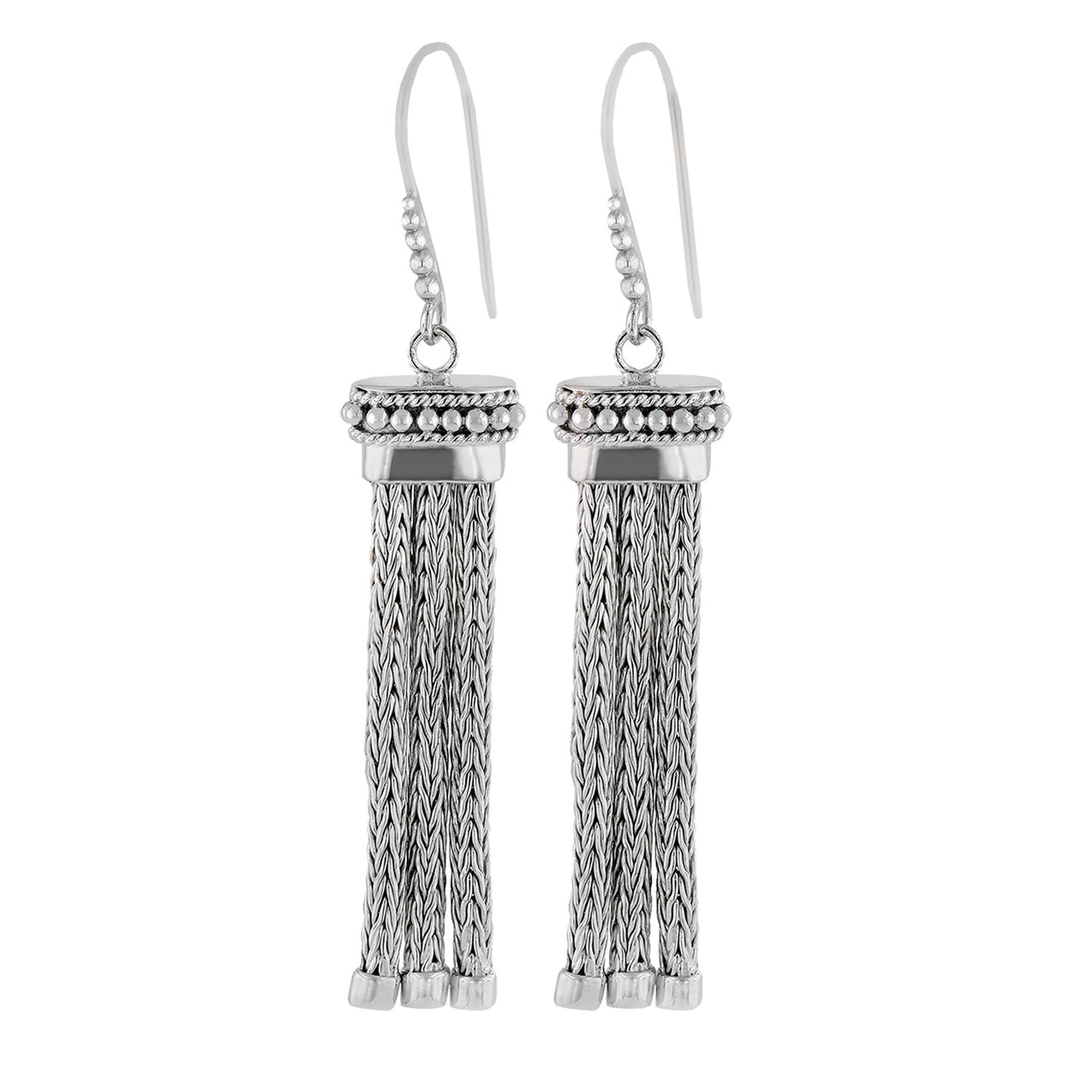 Rhodium Plated Tassel Earrings