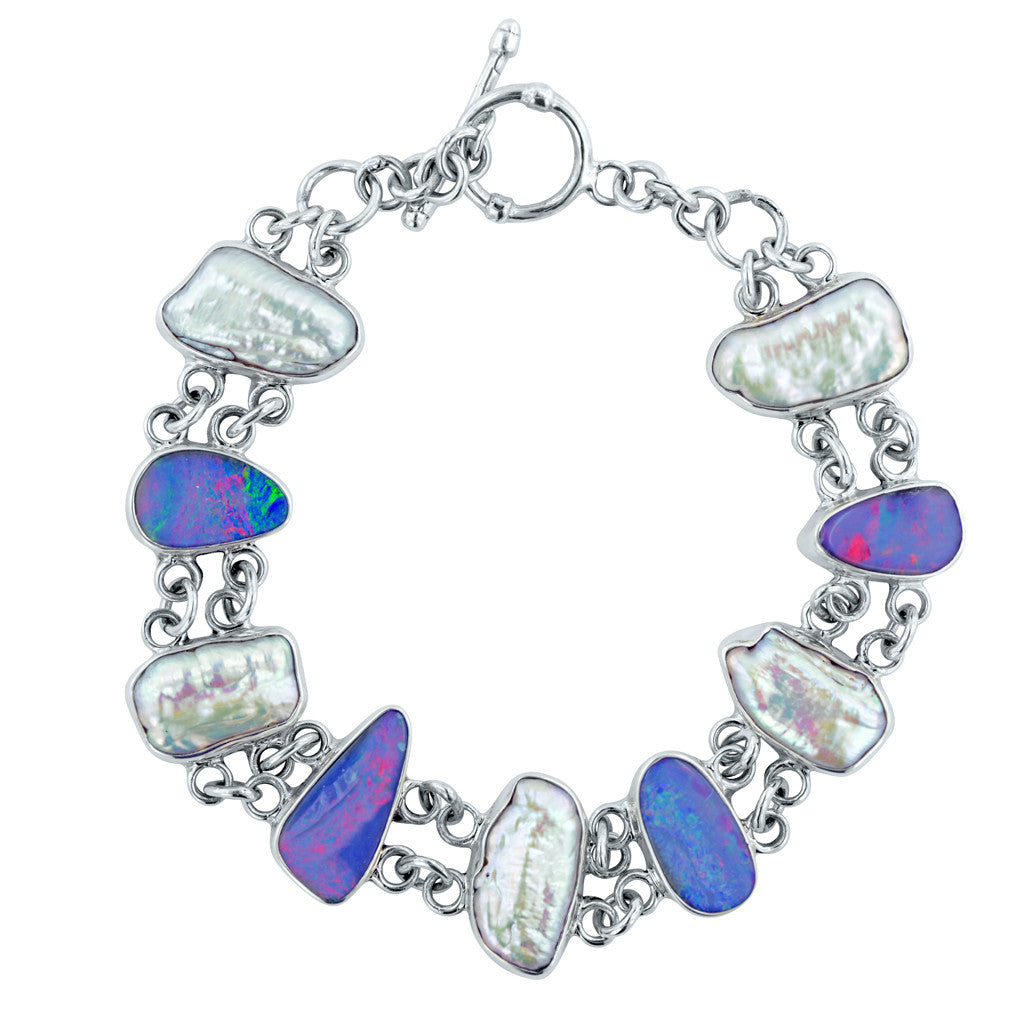 Prismatic Dreams Freeform Pearl and Opal Doublet Bracelet