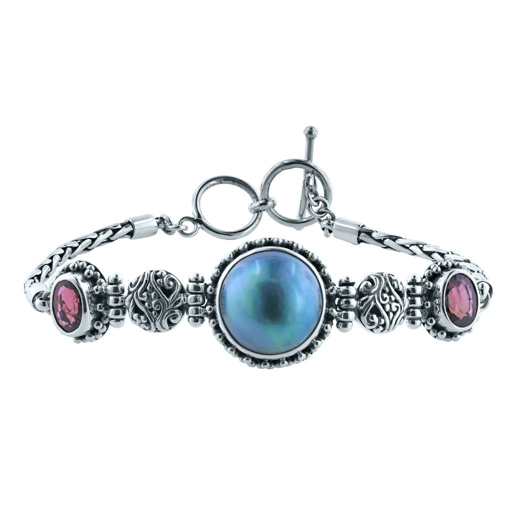 Bali Sunset Blue Mabe and Tourmaline Bracelet