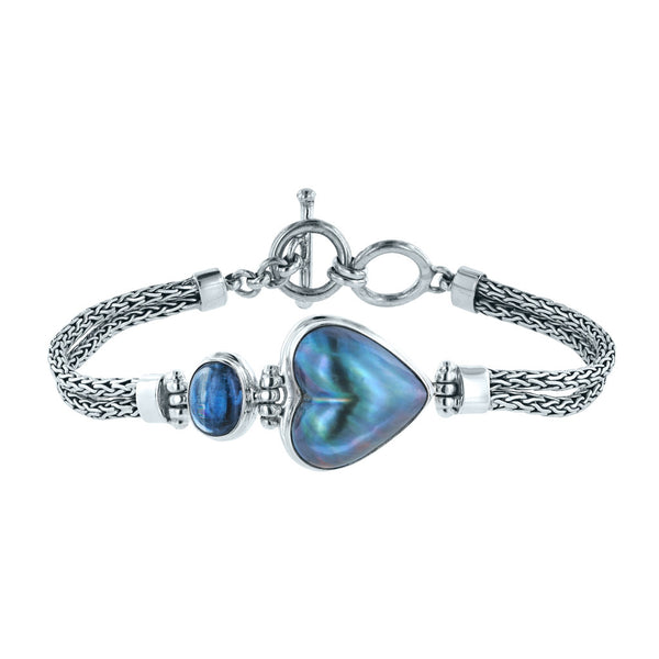 Icy Hearts Blue Mabe Pearl and Kyanite Bracelet
